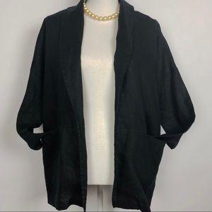 ADRIENNE VITTADINI Black linen oversized blazer